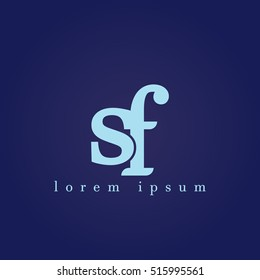 lowercase s and f vector logo. sf initial design template for download