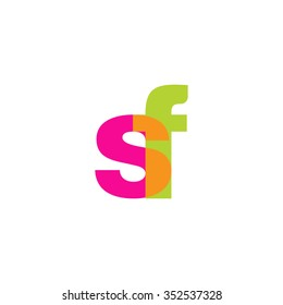 lowercase sf logo, pink green overlap transparent logo, modern lifestyle logo