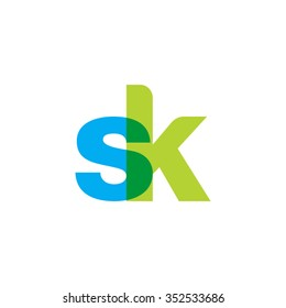 lowercase sk logo, blue green overlap transparent logo