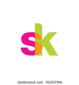 lowercase sk logo, pink green overlap transparent logo, modern lifestyle logo