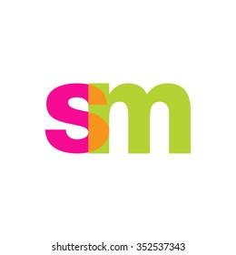 lowercase sm logo, pink green overlap transparent logo, modern lifestyle logo