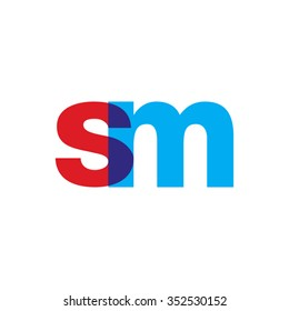 lowercase sm logo, red blue overlap transparent logo