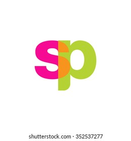 lowercase sp logo, pink green overlap transparent logo, modern lifestyle logo