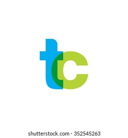 lowercase tc logo, blue green overlap transparent logo