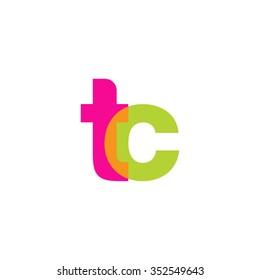 lowercase tc logo, pink green overlap transparent logo, modern lifestyle logo