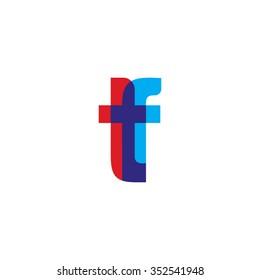 lowercase tf logo, red blue overlap transparent logo