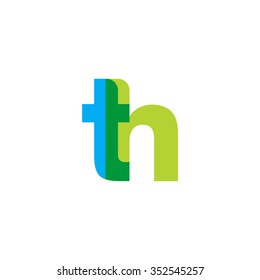 lowercase th logo, blue green overlap transparent logo