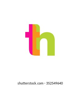 lowercase th logo, pink green overlap transparent logo, modern lifestyle logo