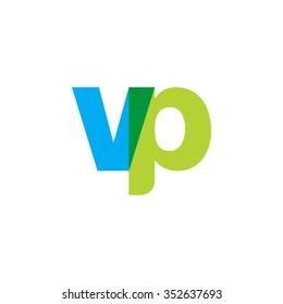 lowercase vp logo, blue green overlap transparent logo