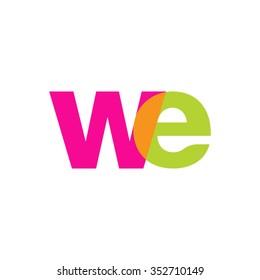 lowercase we logo, pink green overlap transparent logo, modern lifestyle logo