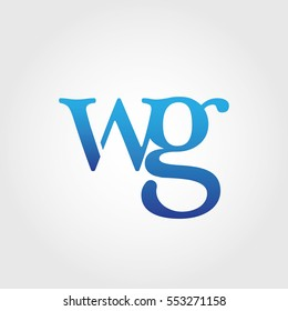 Lowercase wg Logotype. Blue Letter Logo. Letter Abbreviations. Vector Template Element.
