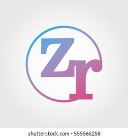 Lowercase zr Ring Circle Logotype. Pink and Blue Gradient Logo Letter. Sign Abbreviations. Vector Template Element