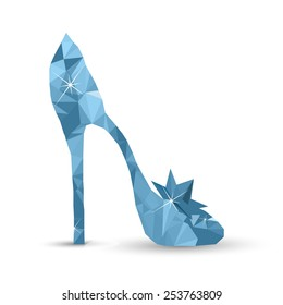 Low-poly Cinderella's crystal shoe