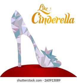 low-poly crystal Cinderella's slipper