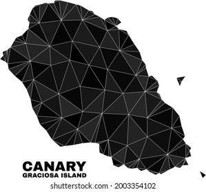 Low-poly Graciosa Island map. Polygonal Graciosa Island map vector filled with scattered triangles. Triangulated Graciosa Island map polygonal abstraction for patriotic illustrations.