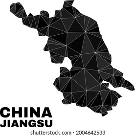 lowpoly Jiangsu Province map. Polygonal Jiangsu Province map vector is filled from random triangles. Triangulated Jiangsu Province map polygonal model for education posters.