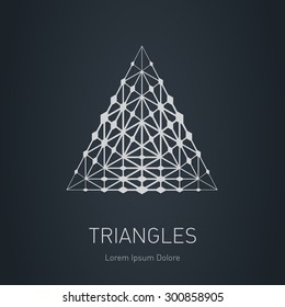 The lowpoly mesh. Modern stylish logo. Design element with triangles and rhombus. Vector logotype template. Grid structure.