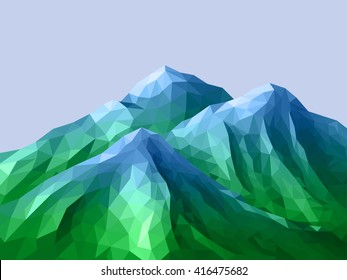 Low-Poly Mountain Landscape. Gradient Maya blue - Screamin Green(blue-green). Abstract polygonal illustration.