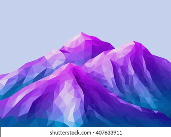 Low-Poly Mountain Landscape. Gradient Psychedelic Purple - Maya Blue. Low poly design. Abstract polygonal illustration.