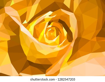 Low-poly rose. Vector Illustration. Abstract polygonal flower. Yellow rose flover