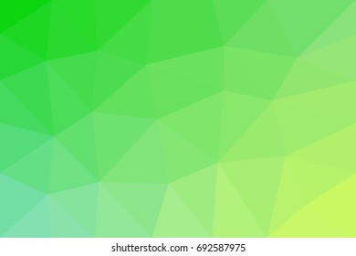 Low-poly vector background with green and yellow color gradients