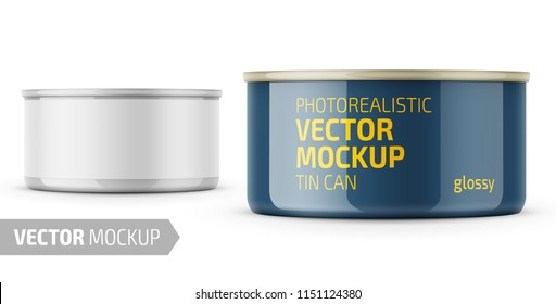 Low-profile glossy tuna can with label on white background. Photo-realistic packaging vector mockup template with sample design. Vector 3d illustration.