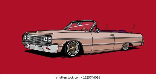 Lowrider car illustration. Vintage car.