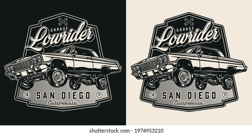 Lowrider custom garage vintage print with inscriptions and american retro car in monochrome style isolated vector illustration