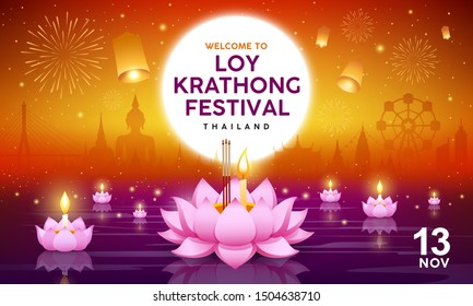 Loy Krathong festival building and landmark thailand, vector banners on righting orange background, illustration