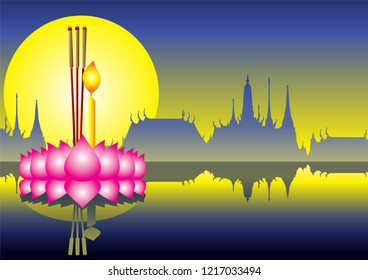 Loy Krathong festival Float on a River, Celebration and Culture in full moon night at Thailand.