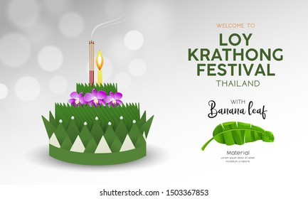 Loy Krathong festival in thailand, banana green leaf material background, vector illustration