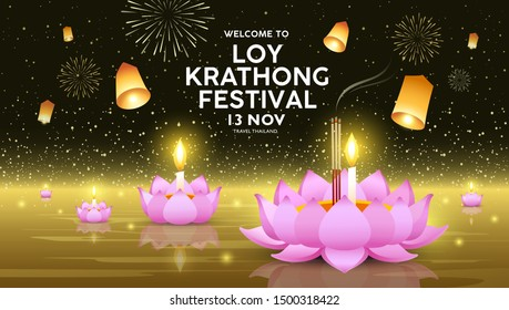 Loy Krathong festival in thailand banners on golden background, vector illustration