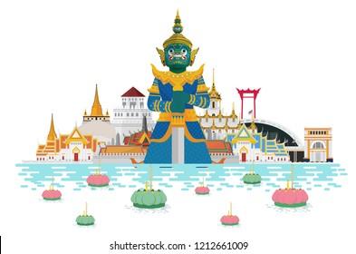 Loy Krathong festival in thailand and landmarks