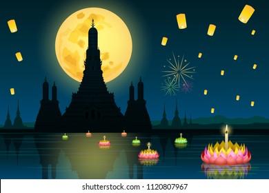 Loy Krathong festival in Thailand and Wat Arun landmark in Bangkok silhouette graphic vector