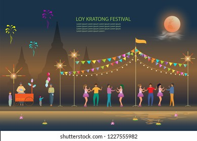 loy kratong festival background design kratong on the river full moon and Festival Temple Fair,vector