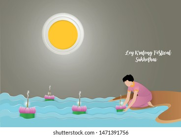 LOY KRATONG FESTIVAL  in thailand , Kratong in hand on the river background in Historical Park and under full moon in Sukhothai  , paper craft and illustration.