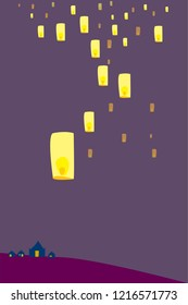 Loy Yi Peng ,Loy Krathong festival — The sacred festival of light in Chiang Mai ,Thailand ,vector illustration