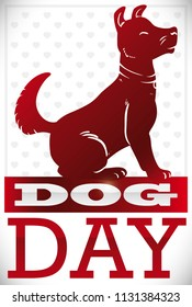 Loyal dog silhouette waiting patiently seated in a calendar for its owner over heart shape pattern to celebrate Dog Day.