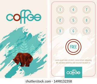 Loyalty card. Buy 10 get 1 free. Pattern with low poly bear.