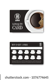 Loyalty card for cafe coffee. Stamps card collect 9 get 1 free. Realistic coffee top view vector and illustration isolated on white background