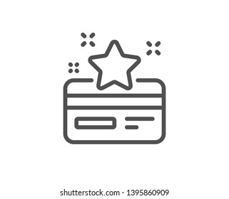 Loyalty card line icon. Bonus points. Discount program symbol. Quality design element. Linear style loyalty card icon. Editable stroke. Vector