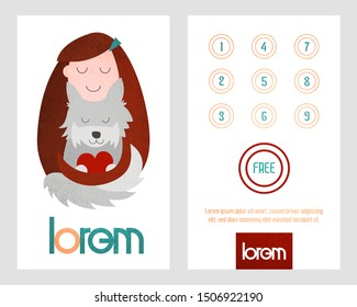 Loyalty card. Card with loyalty program for customers of pet shop, veterinarian care, pets salon etc.