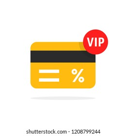 loyalty card for very important person. flat cartoon trendy vip discount graphic art design isolated on white background. concept of customer privilege on birthday for exclusive restaurant or store