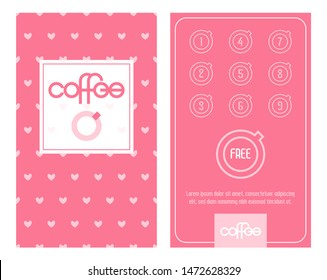 Loyalty Coffee card. Pink Template with Cute Romantic Pink Hearts.