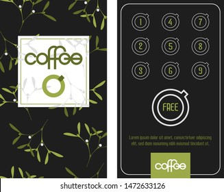Loyalty coffee card. Template in Christmas mood with mistletoes. Get one free.