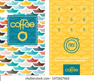 Loyalty Coffee card. Template with Colorful Paper Boats in Summer Mood.