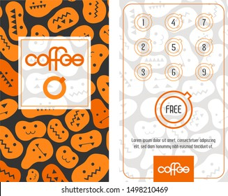 Loyalty coffee card. Template in Halloween mood with curved pumpkins. Get one free.