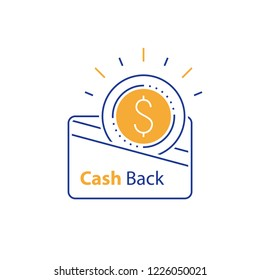 Loyalty concept, cash back, currency credit card, fast easy loan, collecting bonus, vector line icon, linear illustration, outline design