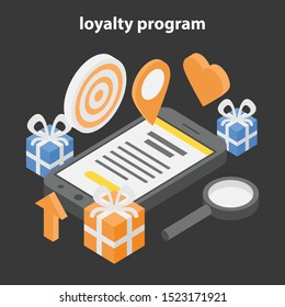 Loyalty program concept banner. Isometric illustration of loyalty program vector concept banner for web design