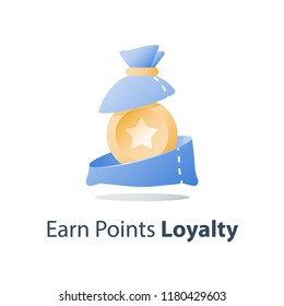 Loyalty program, earn points, collect bonus, prize fund, vector icon, flat illustration